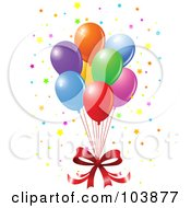 Royalty Free RF Clipart Illustration Of A Red Bow And A Bundle Of Floating Party Balloons With Starry Confetti