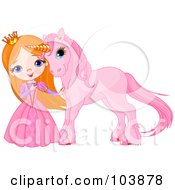 Royalty Free RF Clipart Illustration Of A Red Haired Princess Petting Her Pink Unicorn by Pushkin