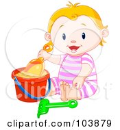 Royalty Free RF Clipart Illustration Of A Happy Beach Baby Girl Playing In Sand