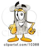 Clipart Picture Of A Pillar Mascot Cartoon Character Pointing At The Viewer by Toons4Biz