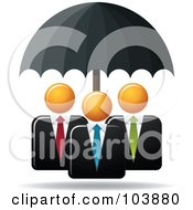 Royalty Free RF Clipart Illustration Of A Black Umbrella Providing Protection For Three Orange Faceless Businessmen