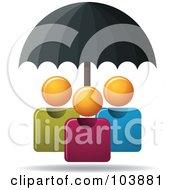 Royalty Free RF Clipart Illustration Of A Black Umbrella Providing Protection For Three Orange Faceless People by Qiun