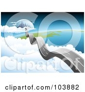 Royalty Free RF Clipart Illustration Of A Bumpy Road Leading To A City In The Sky Above Earth by Qiun