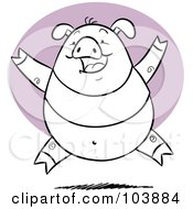 Royalty Free RF Clipart Illustration Of A Happy Black And White Pig Leaping by Qiun