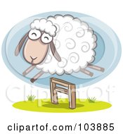 Royalty Free RF Clipart Illustration Of A Wooly Sheep Jumping Over A Hurdle