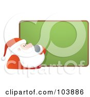 Royalty Free RF Clipart Illustration Of Santa Rubbing His Beard And Staring At A Blank Board