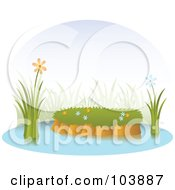 Royalty Free RF Clipart Illustration Of Orange And Blue Flowers By An Island In A Pond