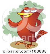Royalty Free RF Clipart Illustration Of A Red Bird Presenting With A Wing by Qiun