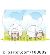 Royalty Free RF Clipart Illustration Of A Pair Of Wooly Sheep Grazing by Qiun