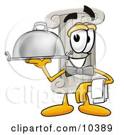 Pillar Mascot Cartoon Character Dressed As A Waiter And Holding A Serving Platter