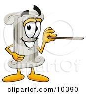 Pillar Mascot Cartoon Character Holding A Pointer Stick
