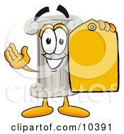 Pillar Mascot Cartoon Character Holding A Yellow Sales Price Tag