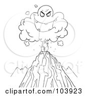 Royalty Free RF Clipart Illustration Of A Coloring Page Outline Of An Evil Ash Cloud Above An Erupting Volcano by Hit Toon