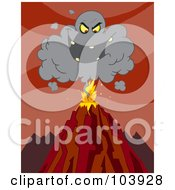Royalty Free RF Clipart Illustration Of An Evil Black Cloud Above An Erupting Volcano by Hit Toon