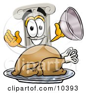 Clipart Picture Of A Pillar Mascot Cartoon Character Serving A Thanksgiving Turkey On A Platter