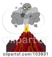 Royalty Free RF Clipart Illustration Of An Evil Ash Cloud Above An Erupting Volcano