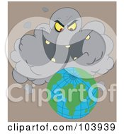 Royalty Free RF Clipart Illustration Of An Evil Black Cloud Laughing At Earth