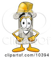 Pillar Mascot Cartoon Character Wearing A Helmet