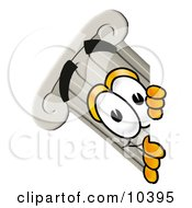 Pillar Mascot Cartoon Character Peeking Around A Corner