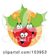 Royalty Free RF Clipart Illustration Of Happy Christmas Holly Berries And Leaves On An Orange Oval by Hit Toon