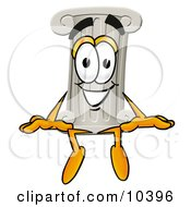Pillar Mascot Cartoon Character Sitting