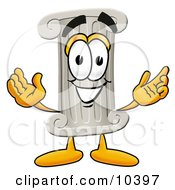 Poster, Art Print Of Pillar Mascot Cartoon Character With Welcoming Open Arms