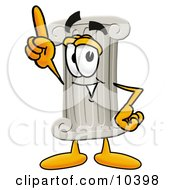 Pillar Mascot Cartoon Character Pointing Upwards
