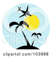 Royalty Free RF Clipart Illustration Of A Silhouetted Plane Over Palm Trees And The Sun In A Blue Circle
