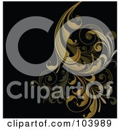 Royalty Free RF Clipart Illustration Of Brown Floral Scrolls Over Black