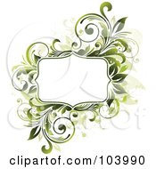 Royalty Free RF Clipart Illustration Of A White Space Bordered By Green Vines And Beige Splatters by OnFocusMedia