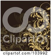Royalty Free RF Clipart Illustration Of Tan And Brown Floral Scrolls Over Brown