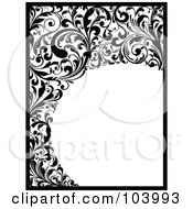 Royalty Free RF Clipart Illustration Of A Black And White Border And Vine Scrolls by OnFocusMedia