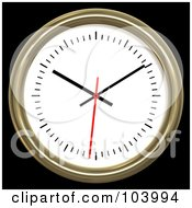 Royalty Free RF Clipart Illustration Of A 3d Gold Rimmed Analog Wall Clock