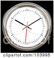Royalty Free RF Clipart Illustration Of A 3d Chrome Rimmed Analog Wall Clock