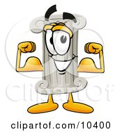 Pillar Mascot Cartoon Character Flexing His Arm Muscles