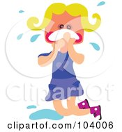 Royalty Free RF Clipart Illustration Of A Square Head Girl Crying