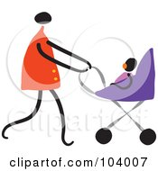 Royalty Free RF Clipart Illustration Of A Mommy Walking Her Baby