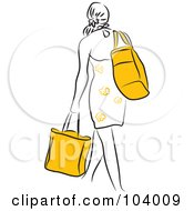 Royalty Free RF Clipart Illustration Of A Woman Walking Away With Shopping Bags by Prawny