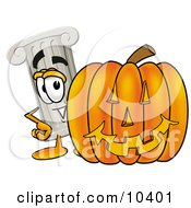 Clipart Picture Of A Pillar Mascot Cartoon Character With A Carved Halloween Pumpkin by Toons4Biz
