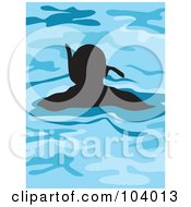 Royalty Free RF Clipart Illustration Of A Silhouetted Man Snorkeling by Prawny