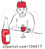 Royalty Free RF Clipart Illustration Of A Man With Red Wine by Prawny