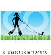 Royalty Free Clipart Picture Of A Silhouetted Woman Walking A Dog On Grass
