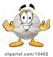 Clipart Picture Of A Soccer Ball Mascot Cartoon Character With Welcoming Open Arms by Toons4Biz