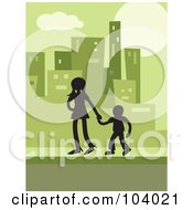 Royalty Free RF Clipart Illustration Of A Silhouetted Brother And Sister In A Green City