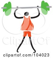 Royalty Free RF Clipart Illustration Of A Fitness Man Lifting A Barbell