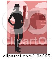 Royalty Free RF Clipart Illustration Of A Silhouetted Urban Woman by Prawny