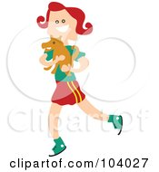 Square Head Girl Carrying A Dog