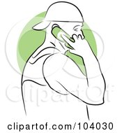 Royalty Free RF Clipart Illustration Of A Man Talking On A Phone by Prawny