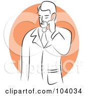 Royalty Free RF Clipart Illustration Of A Man Using A Phone by Prawny