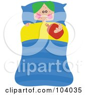 Royalty Free RF Clipart Illustration Of A Square Head Boy Laying Sick In Bed by Prawny